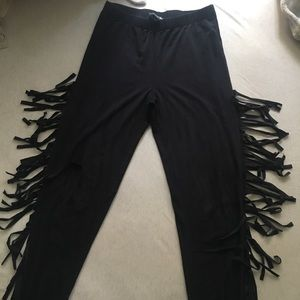 f2ada3956f9d3 Forever 21 Pants | 2 For 1 Leggings Black Faux Suede Leggingsfringe ...